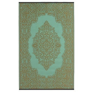 Indo Istanbul Fair Aqua and Bronze Geometric Area Rug (5' x 8')