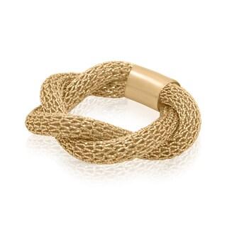Gioelli 14KT Yellow Gold Italian Twisted Mesh Interlocked Ring