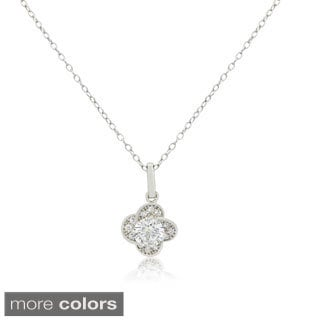 Gioelli 14KT Gold 6mm Round-Cut Flower CZ Necklace