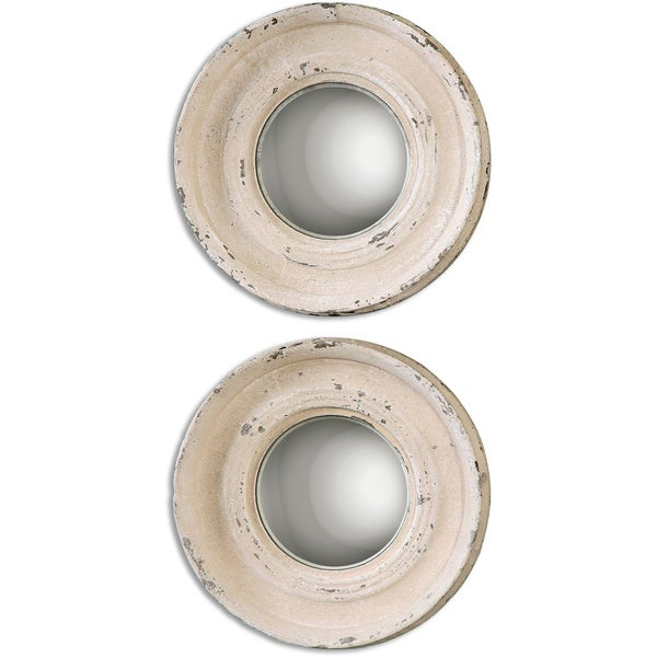 Uttermost Busalla Ivory Round Small Mirrors (Set of 2)