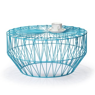 Adeco Iron Sky Blue Round Starburst End/ Side Table
