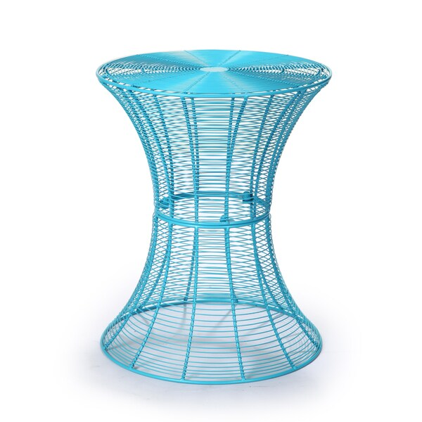 Adeco Round Iron Hourglass Sky Blue End/ Side Table