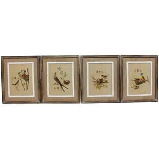 17-inch x 0.62-inch x 21-inch Wood Frame Nested Bird Prints (Assortment of 4/ Pack of 4)