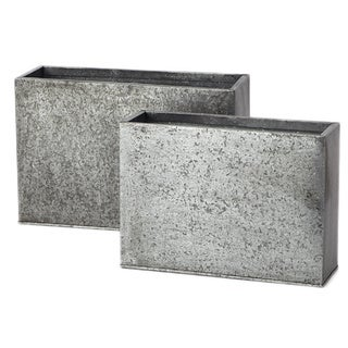 Galvanized Cube Planter (Set of 2/ Pack of 2)