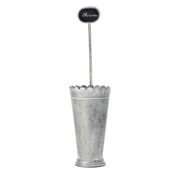 34-inch Tin Flower Buckets with Sign (Pack of 6)