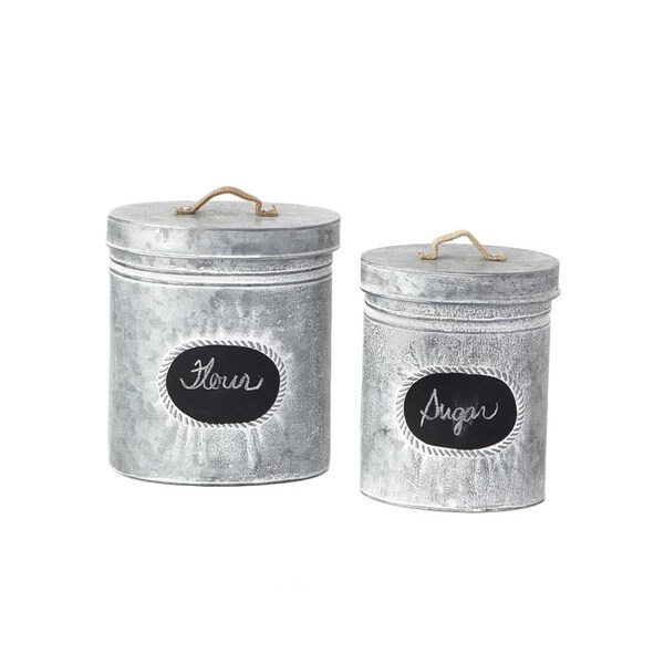 Tin Cannister with Sign (Set of 2/ Pack of 16)