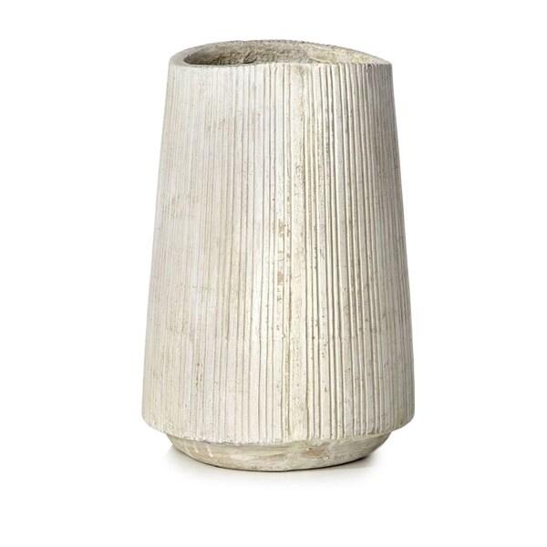 11-inch x 16-inch Striated Cement Vessel