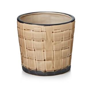 Ceramic 7-inch x 6.5-inch Weave Pot