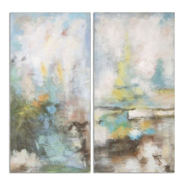 Uttermost 'Mixtures Modern' Hand Painted Gallery Wrapped Canvas Wall Art (Set of 2)