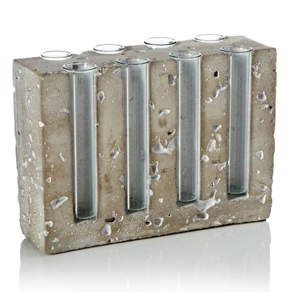 7-inch x 2-inch x 5-inch Cement Deco with 8 Glass Tubes
