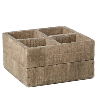 7.1-inch x 3.7-inch Cement Square Wood Crate Pot