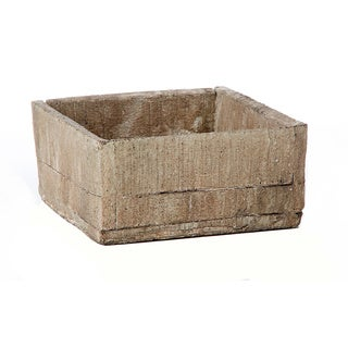 6.7-inch x 6.7-inch x 3.15-inch Cement Square Wood Crate Pot