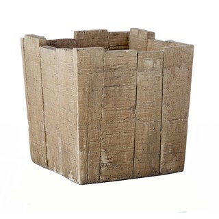 6.9-inch x 6.9-inch Cement Square Wood Crate Pot