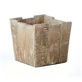 5.51-inch x 5.31-inch Cement Square Wood Crate Pot