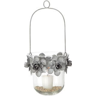 7-inch x 13-inch Tin Flower and Glass Hanging Candle