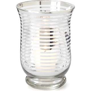 4.25-inch x 4.25-inch x 6-inch Glass Hurricane with Silver Stripe (Pack of 6)