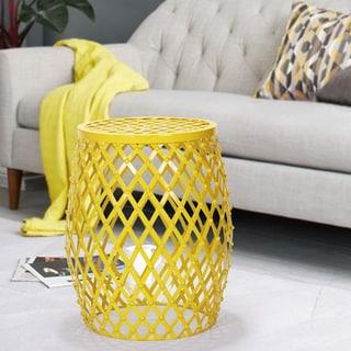 Adeco Bright Yellow Hatched Diamond Pattern Round Iron Stool