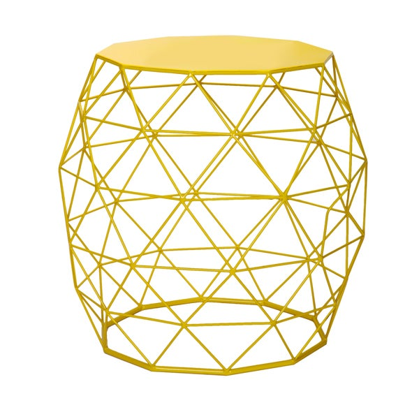 Adeco Triangle Pattern Bright Yellow Round Iron Table/ Stool
