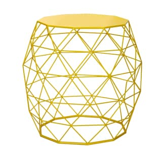 Adeco Round Triangle Pattern Bright Yellow Iron Table/ Stool
