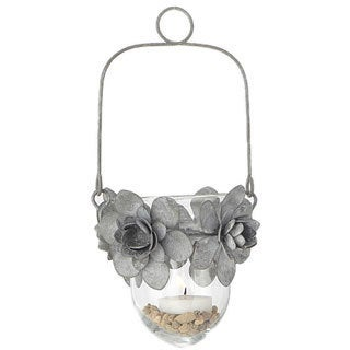 5-inch x 9-inch Tin Flower and Glass Hanging Candle