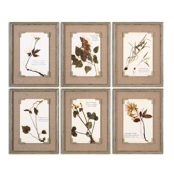 Uttermost Grace Feyock 'Ceramic Florals' Framed Ceramic Tiles Wall Art (Set of 6)