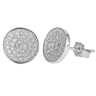 Decadence Sterling Silver Round Micropave Stud Earrings with Cubic Zirconia