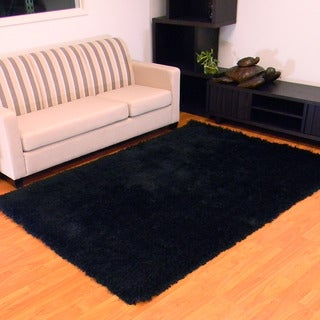 Hand-tufted Express Shag Solid Black Area Rug (5' x 7')