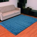 Hand-knotted Jazzy Shag Blue Area Rug (5' x 7')