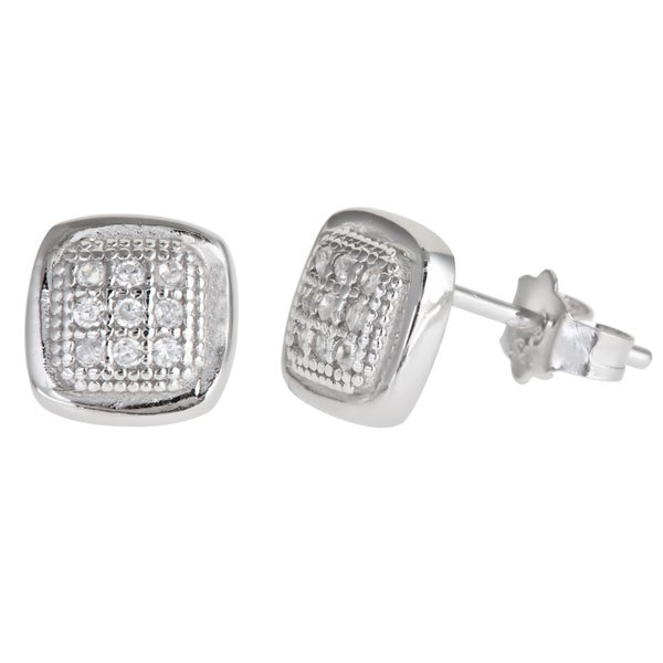 Sterling Silver 3-row Cubic Zirconia Micropave Stud Earrings