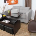Alectra Lift-top Rectangular Wood Veneer Finish Coffee Table and Casual Seating Stools