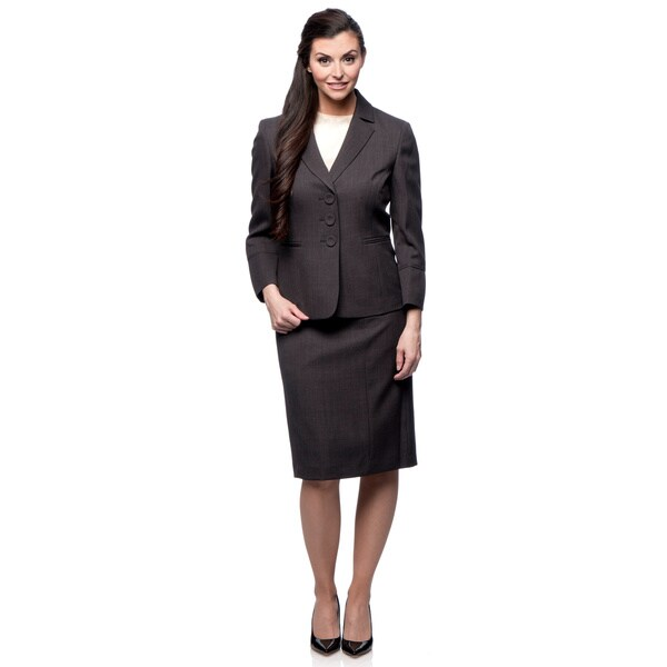 Evan-Picone 3-Button Notch Collar Skirt Suit