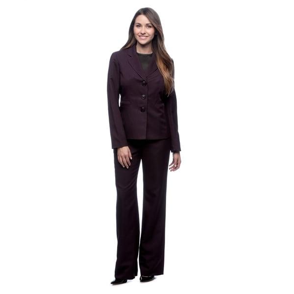 Evan Picone Women's Melange Notch-collar Pant Suit