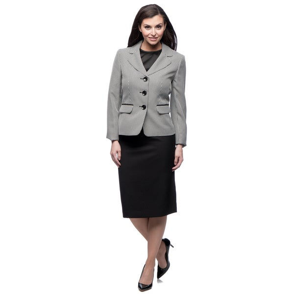 Evan Picone Women's Black and Ivory Tweed Skirt Suit