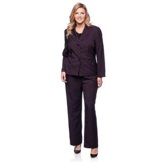 Evan Picone Women's Plus Size Plum Melange Pant Suit