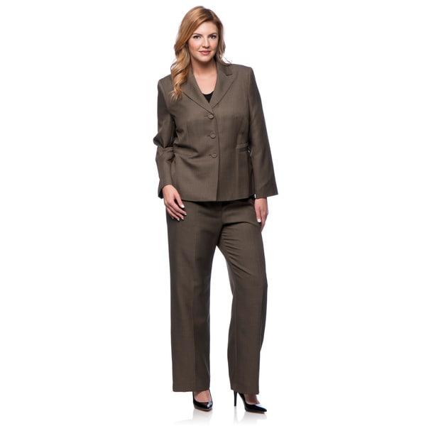 Evan-Picone Women's Plus Size 3-button Notch Collar Tonal Stripe Pant Suit