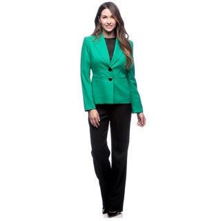 Evan Picone Women's Emerald and Black Two-tone Pant Suit