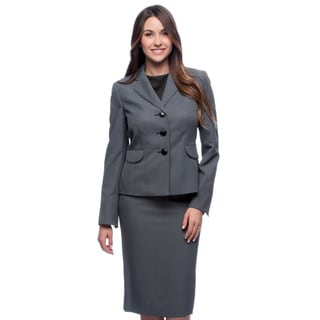 Evan Picone Women's Navy and White Micro-dot Skirt Suit