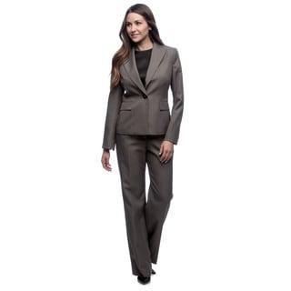 Evan Picone Women's Greyish Navy Peak Collar Pinstriped Suit