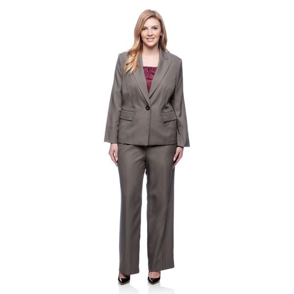 Evan-Picone Women's Plus Size 1-button Peak Collar Stripe Pant Suit