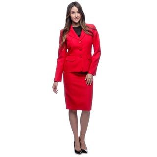 Evan Picone Women's Cherry Red Notch-collar Skirt Suit