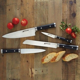 Anolon Cutlery 7-Inch Japanese Stainless Steel Santoku Knife with Sheath, Black