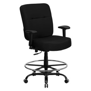 Offex Hercules Series Big and Tall Black Fabric Drafting Stool with Arms and Extra Wide Seat