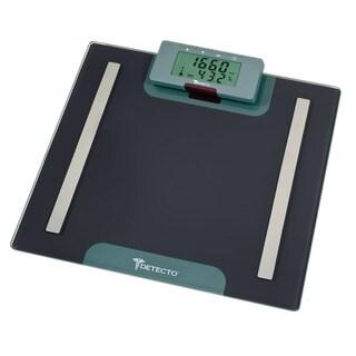 Detecto Advantage Grey 7-in-1 Glass LCD Digital Body Composition Bathroom Scale with Remote