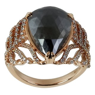 Contessa 14k Yellow Gold 5 1/10ct TDW Black and White Diamond Ring (H-I, I2-I3)