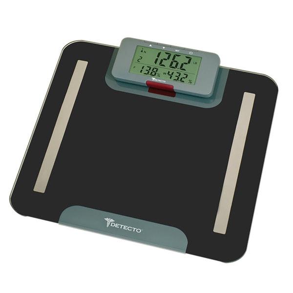 Detecto Advantage Black 9-in-1 Glass LCD Body Composition Bathroom Scale with Remote