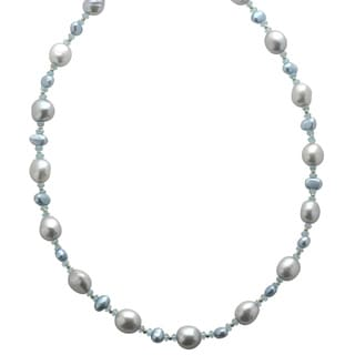 Pearls For You 14k Yellow Gold Grey Freshwater Pearl and Apatite Necklace (5-6 mm)