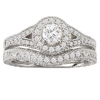 Avanti 14k White Gold Split Shank Halo Vintage Diamond Bridal Ring Set (G-H, SI1-SI2)