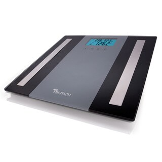 Detecto 5-in-1 Grey/ Black Glass LCD Body Comp Bathroom Scale