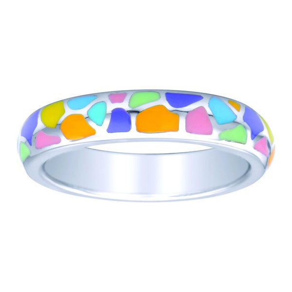 Sterling Silver Multi-color Pastel Enamel Stackable Ring