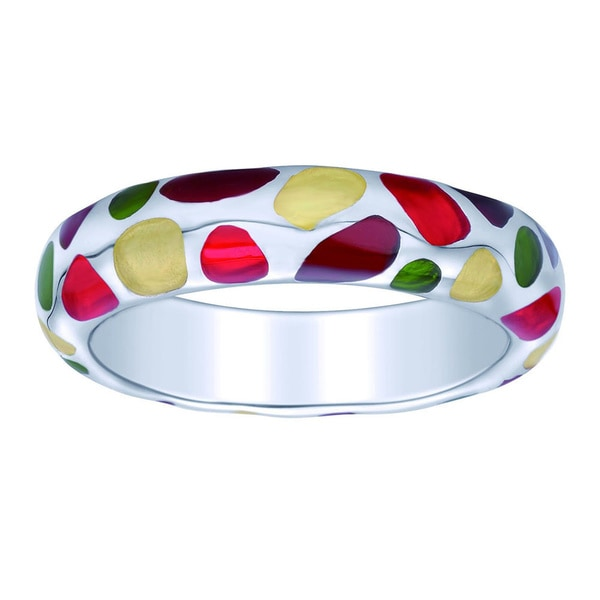 Sterling Silver Multi-color Enamel Stackable Ring